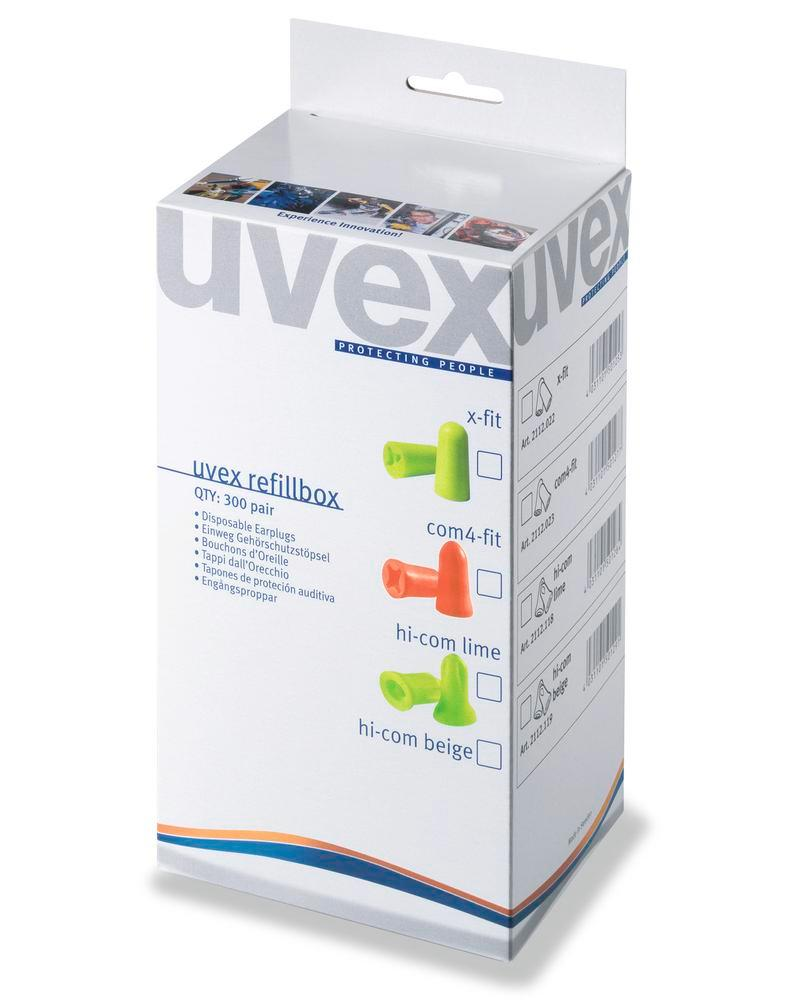 Refill box with 300 pairs of disposable hearing proteciton uvex com4- SNR 33 colour light orange - 2