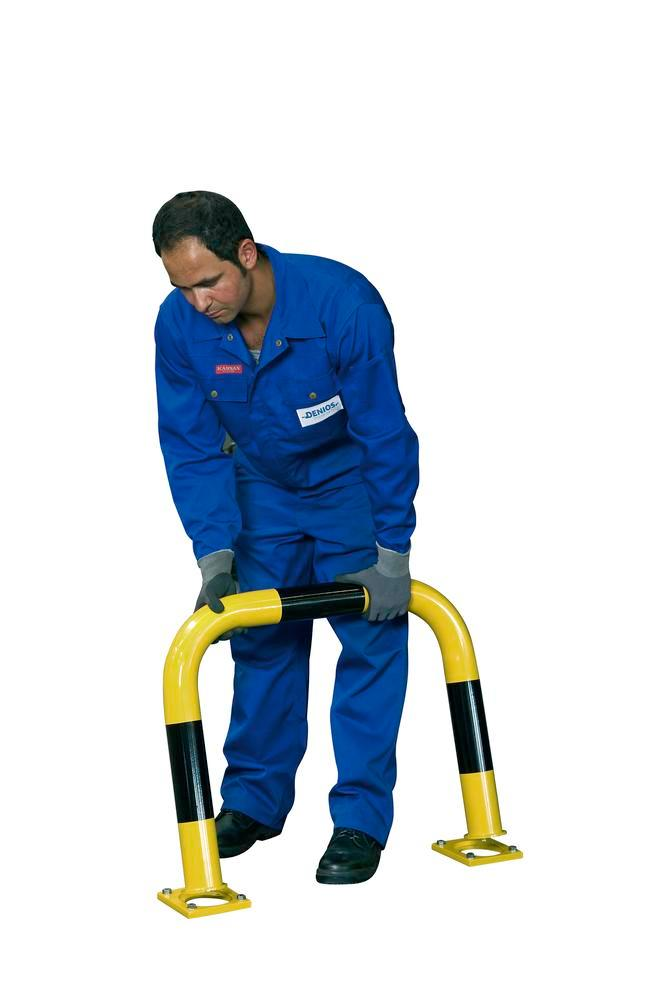 Removable Impact protection profiles, plastic coated, yellow/ black, for dowelling, 600 x 750 mm - 1