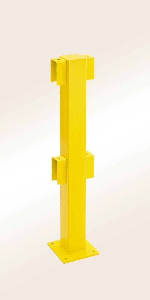 Safety barrier rail central post, yellow plastic-coated, for setting in concrete, 1000 x 100 x 100 m