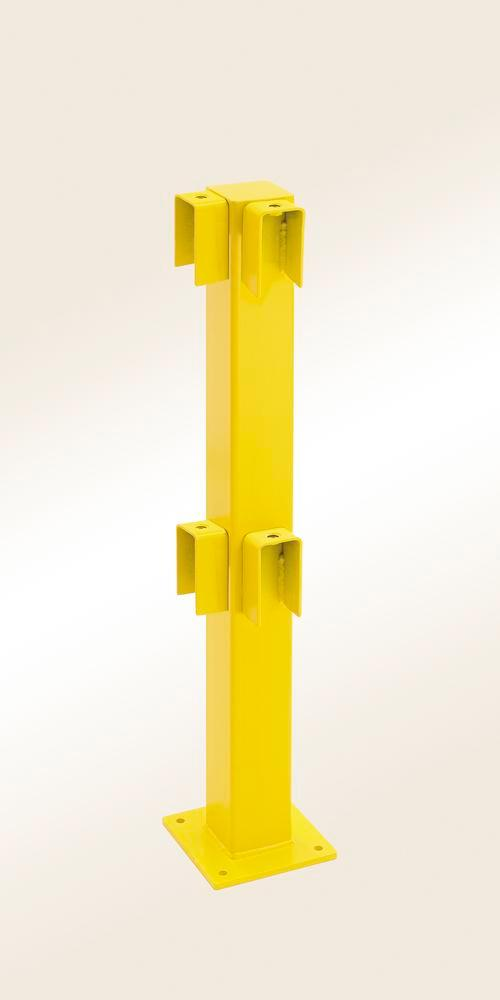 Safety barrier rail corner post, yellow plastic-coated, for setting in concrete, 1000 x 100 x 100 mm