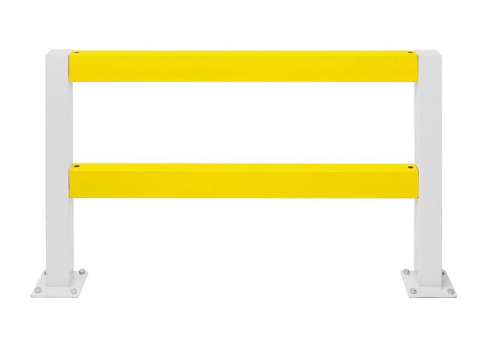 Safety barrier rail crossbar, yellow plastic-coated, for setting in concrete, incl. screws, 2000 mm