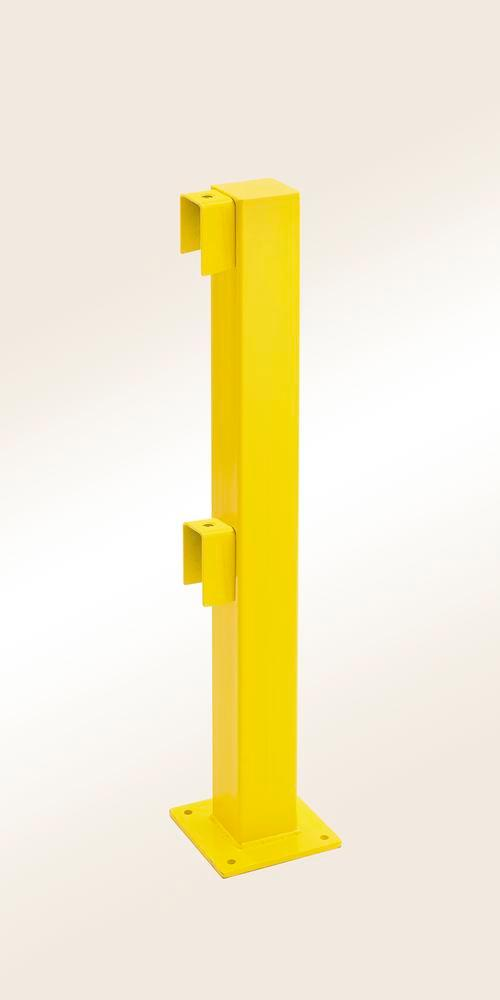 Safety barrier rail start/end post, yellow plastic-coated, for setting in concrete, 1000 x 100 x 100