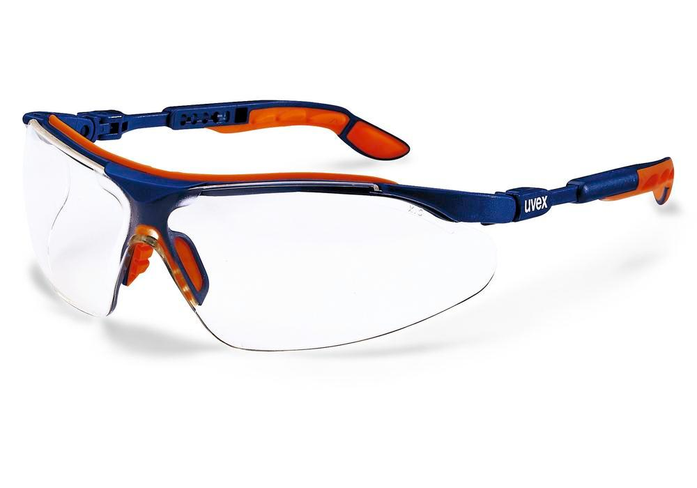 Safety spectacle uvex i-vo 9160 with duo component technology, blue-orange with clear lense
