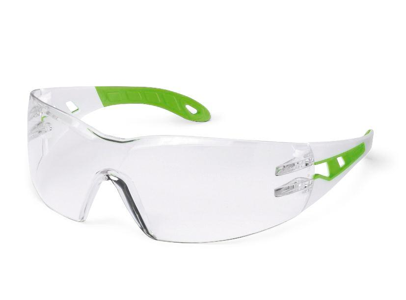 Safety spectacle uvex pheos s 9192, white/green with clear polycarbonat lense