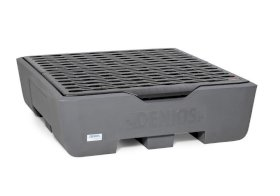 Spill pallet pro-line in polyethylene (PE) for 4 drums, with grid and leak indicator-w280px