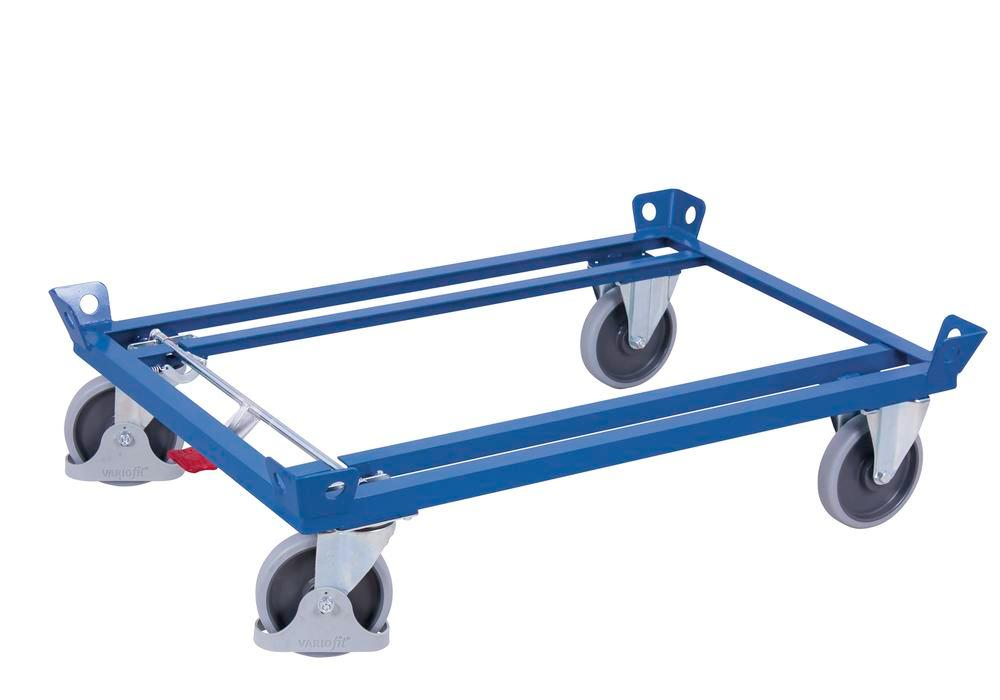 Steel chassis, with TPE castors, EasySTOP, 1210 x 810 x 270 mm - 1