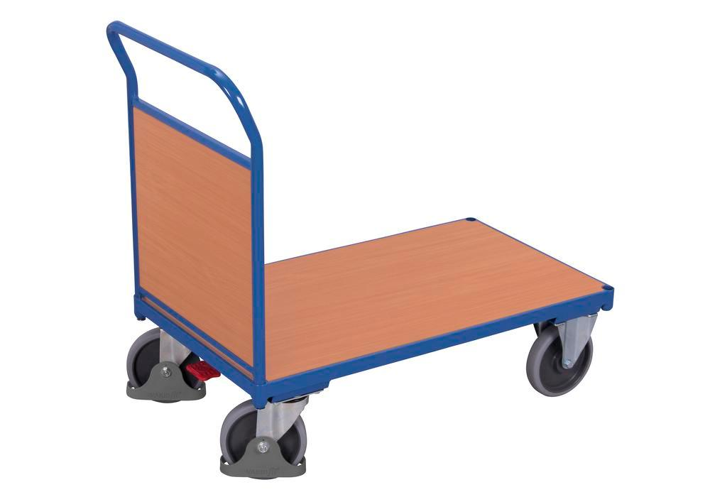 Steel panelled trolley, with wooden wall, powder coated, TPE castors, EasySTOP, 880 x 500 mm