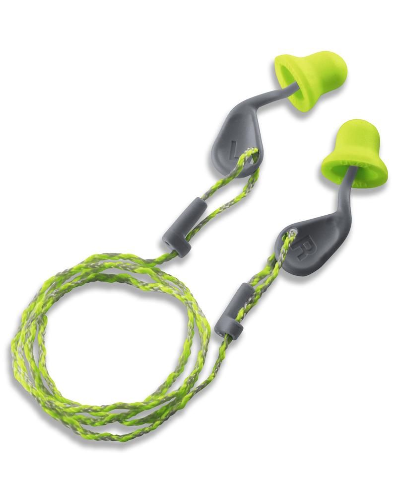 The innovative uvex xact-fit, based on the anatomy of the ear, SNR 26, with cord, lemon/grey
