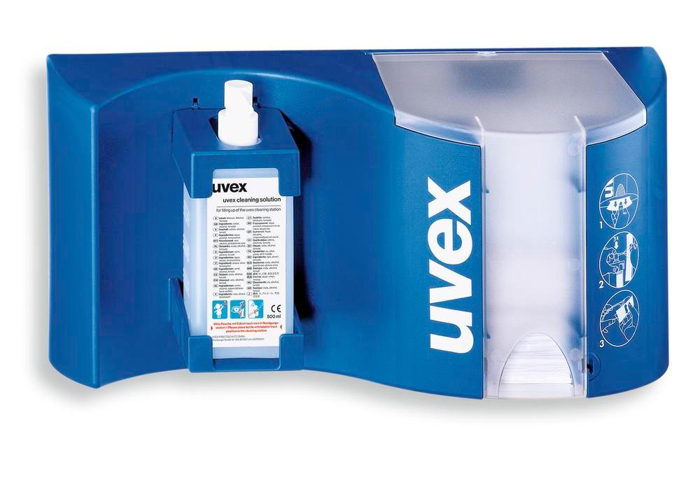 uvex cleating station with cleaning fluid, silicone-free tissues and plastic pump - 1