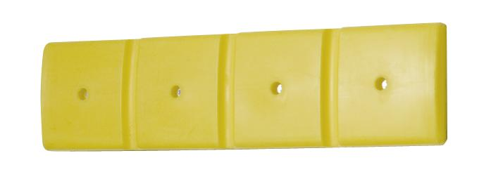 Wall protector 1000 wide, polyethylene, yellow, 1000 x 50 x 250mm, set of 2 - 1
