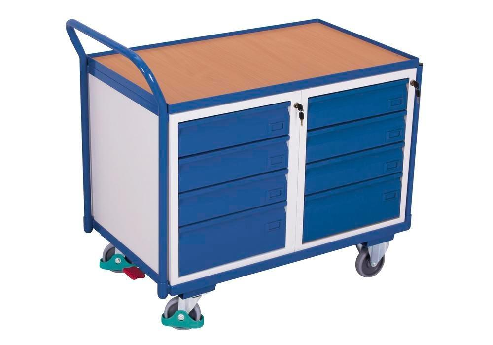 Workshop trolley with 1 shelf and 8 drawers, 1125 x 625 x 1010 mm