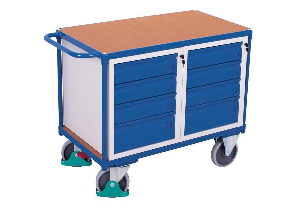 Workshop trolley with 1 shelf and 8 drawers, 1190 x 600 x 930 mm