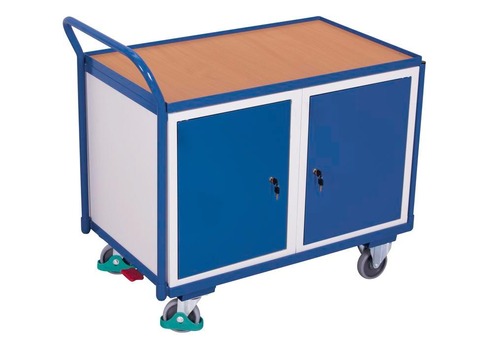 Workshop trolley with 1 shelf, double wing door and centre partition