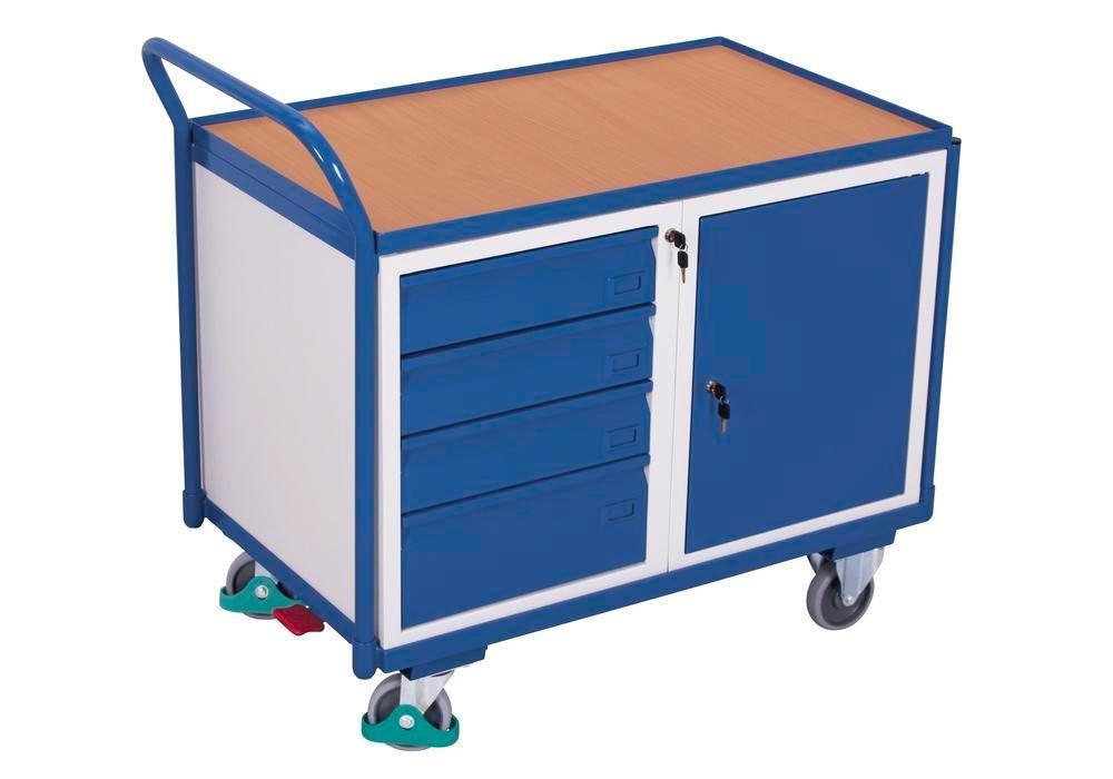 Workshop trolley with 1 shelf, wing door and 4 drawers, 1125 x 625 x 1010 mm
