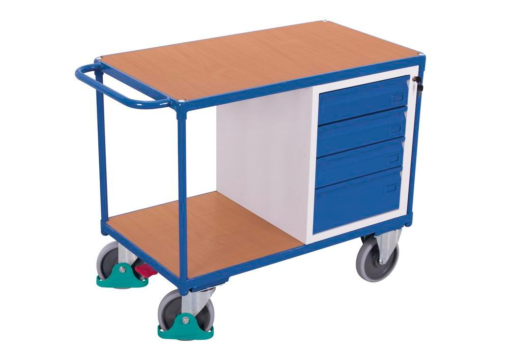 Workshop trolley with 2 shelves and 4 drawers - 1