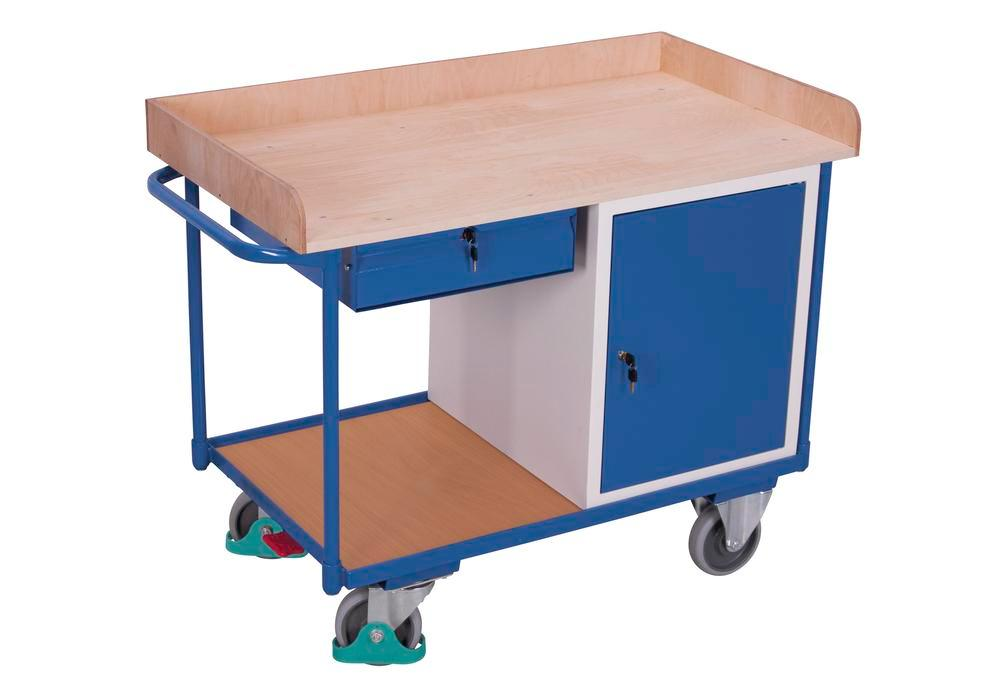 Workshop trolley with 2 shelves, worktop in beech plywood, with wing door and draw