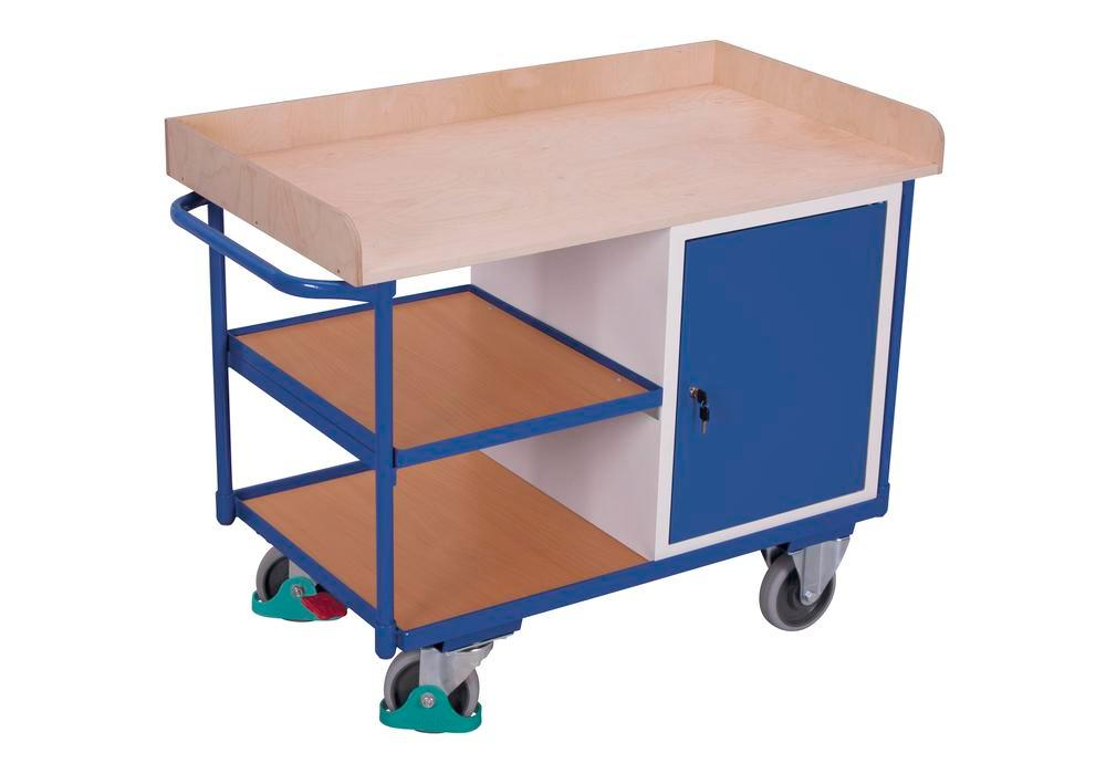 Workshop trolley with 3 shelves, worktop in beech plywood, 1 wing door - 1