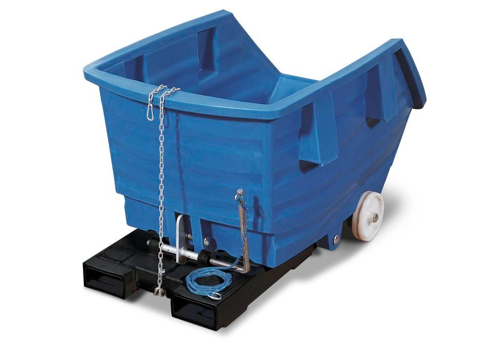 Blue Polyethylene Skip, 750l Capacity, With Castors