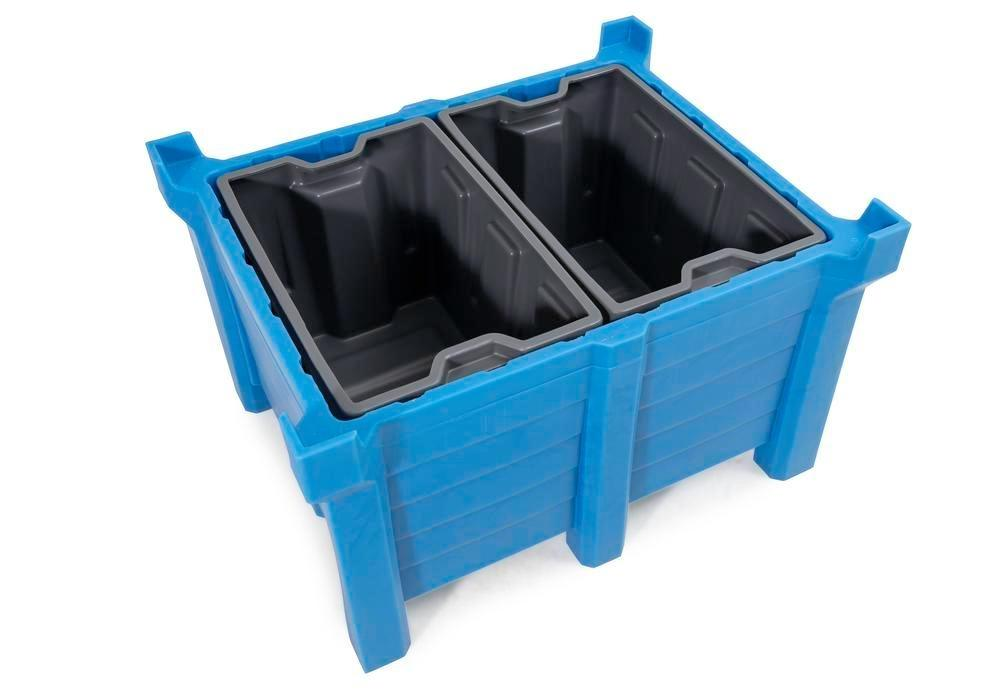 Box insert in polyethylene (PE) for stacking containers PolyPro 260 litre, 437 x 685 x 440 mm