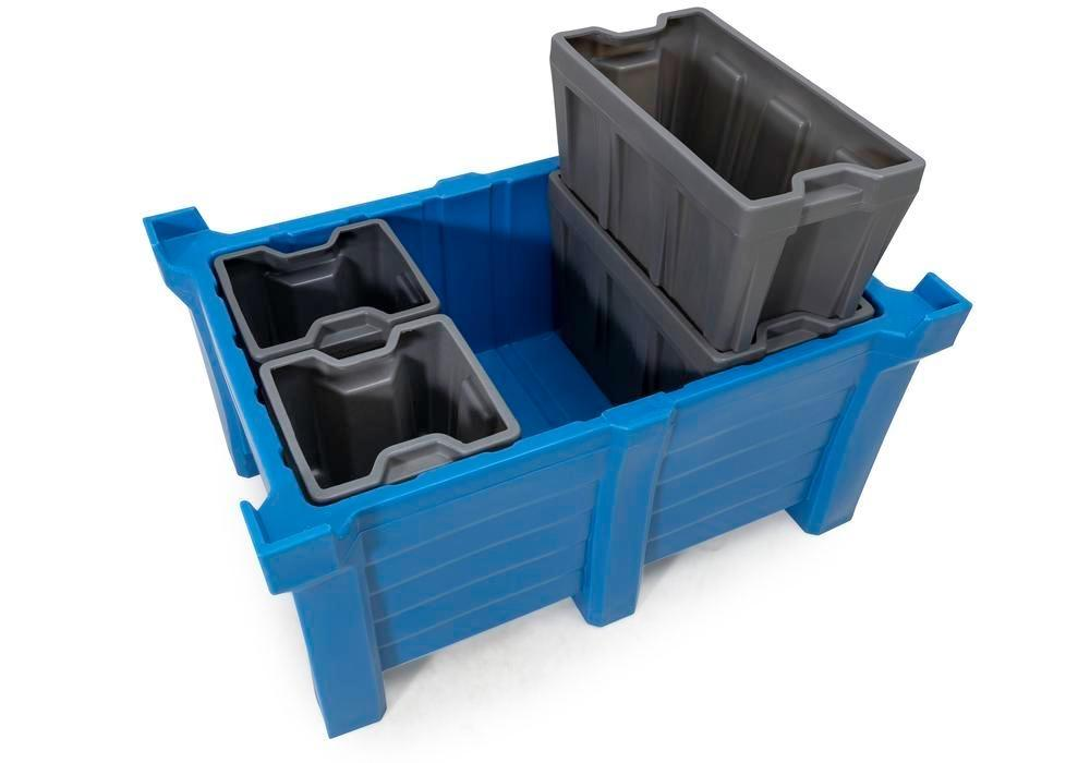 Box insert in polyethylene (PE) for stacking containers PolyPro 300 litre, 351 x 667 x 440 mm