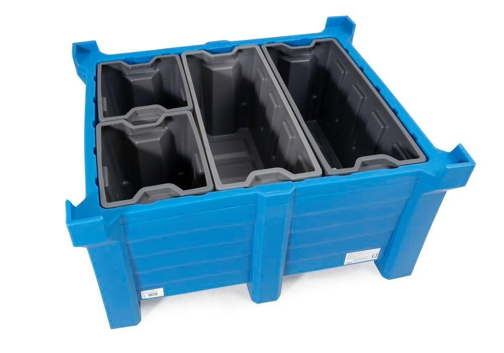Box insert in polyethylene (PE) for stacking containers PolyPro 400 litre, 351 x 865 x 440 mm - 6