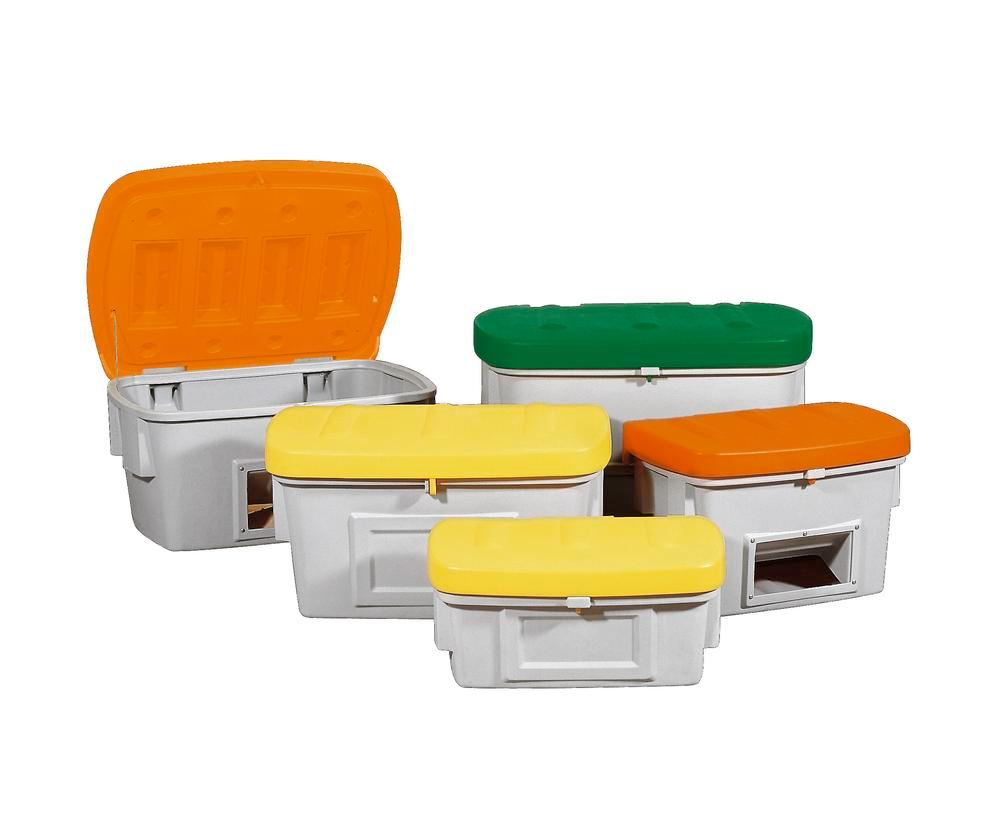 Grit Bin Model SB 100-O, with dispensing hatch, Orange Lid