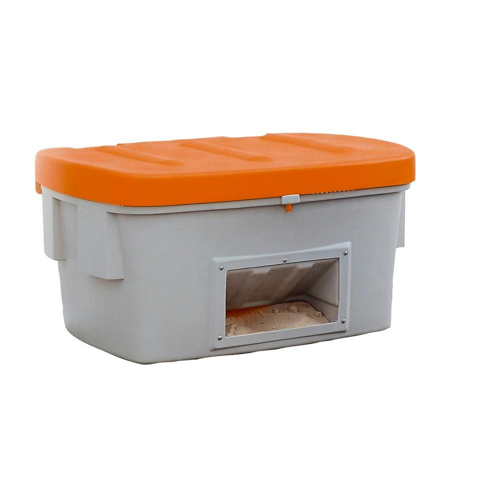 Grit Bin Model SB 550-O, with dispensing hatch, Orange Lid