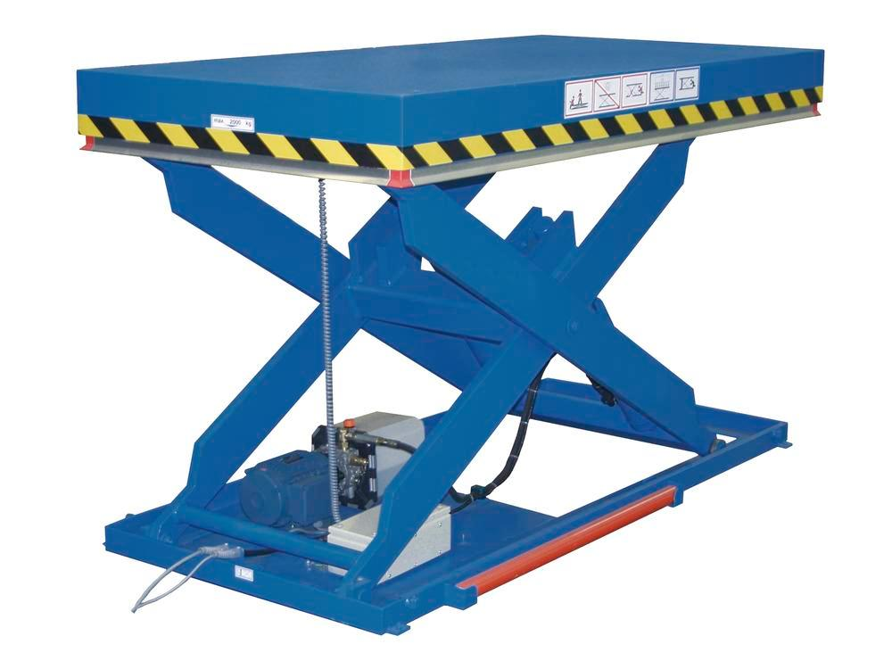 Lifting table HTE 5-1000, with single scissor in flat steel, 200 x 100 cm, 1000 kg load capacity