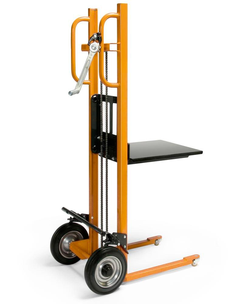 Lifting trolley in plastic coated steel profiles, 150 kg load capacity, solid rubber tyres