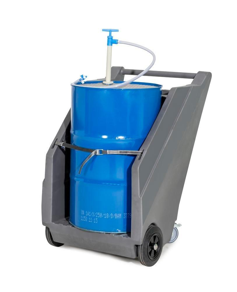 Mobile pump system for acids / chemicals, with drum trolley in PE and hand pump in PP