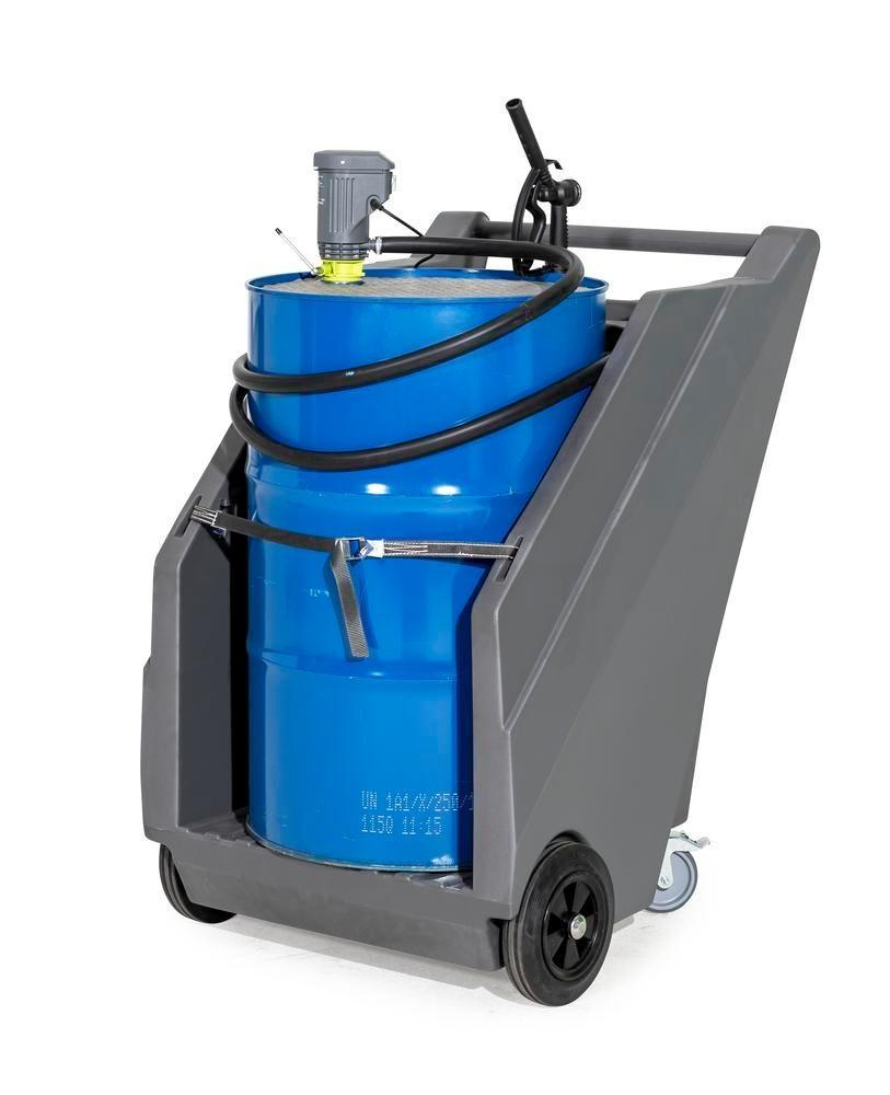 Mobile pump system for diesel, with drum trolley in PE and electr. drum pump Model HP