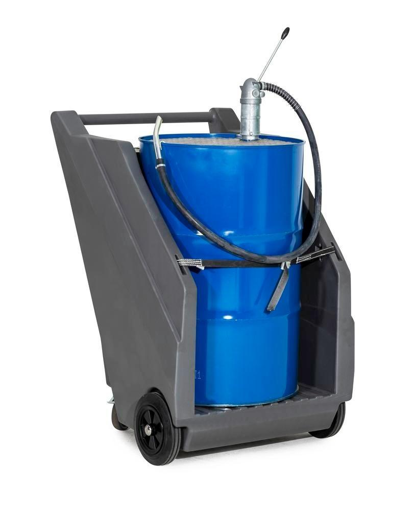 Mobile pump system for mineral oils, with drum trolley in PE and diecast hand pump