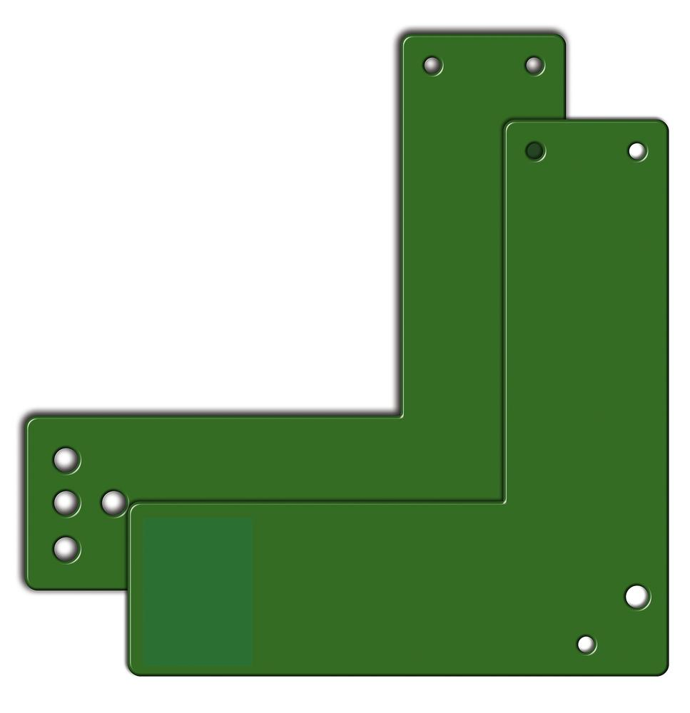 Mounting plates for glass frame doors 17.5 cm short, sabotage-proof with holes
