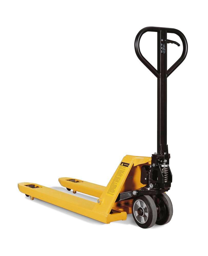 Pallet truck with tandem nylon wheels, 2000 kg load capacity
