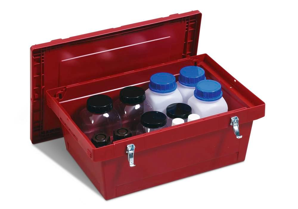 Polypropylene reusable Haz Goods container, 27 ltr, snap-on lid, secure metal fasteners - 2