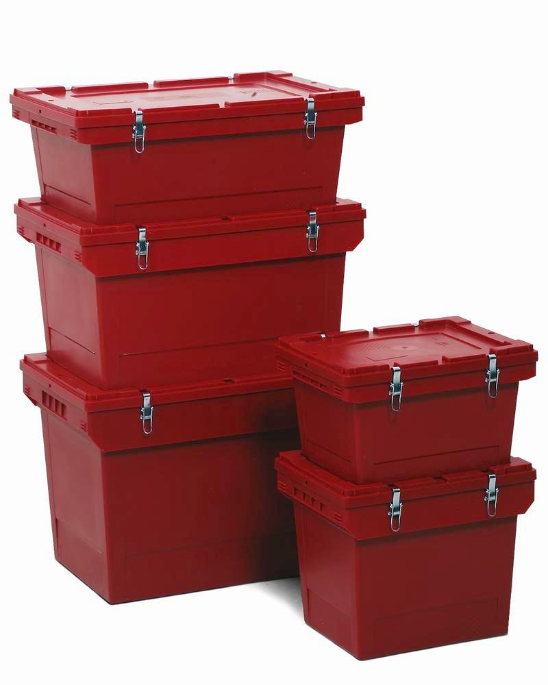 Polypropylene reusable Haz Goods container, 27 ltr, snap-on lid, secure metal fasteners