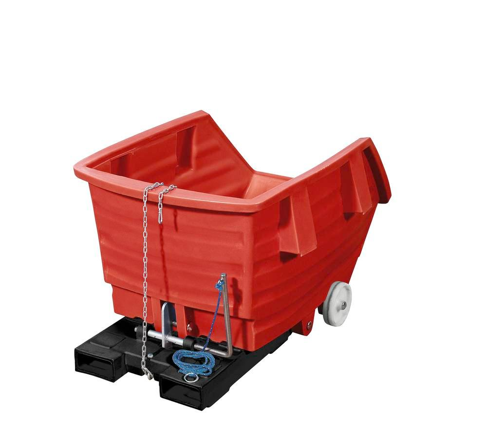 Red Polyethylene Skip, 500l Capacity, With Castors