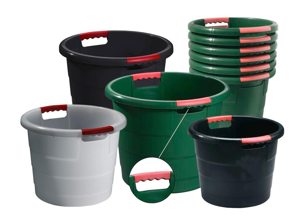Round containers, polypropylene, for storage, transport and production, 30 litre capacity, natural