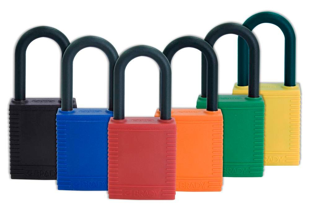 Safety lock with plastic coating, orange, non-conductive