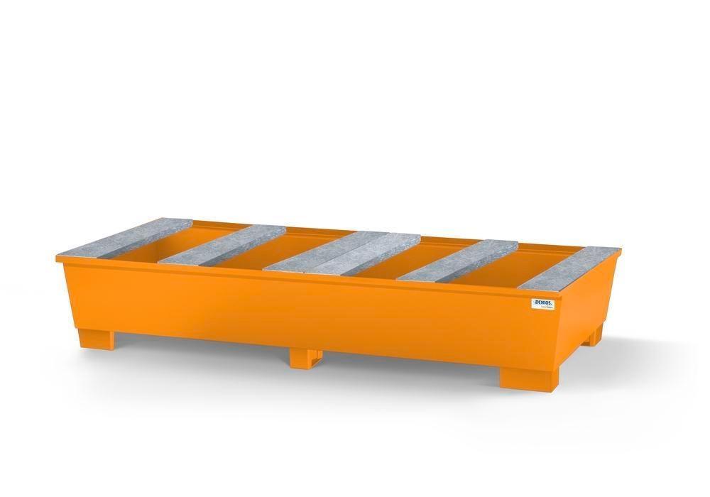 Spill pallet base-line in steel for 2 IBC, painted, support profile