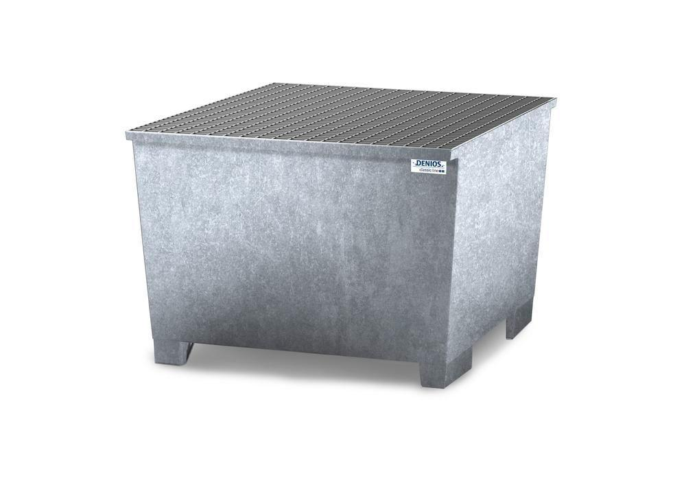 Spill pallet classic-line in steel for 1 IBC, galvanised, grid