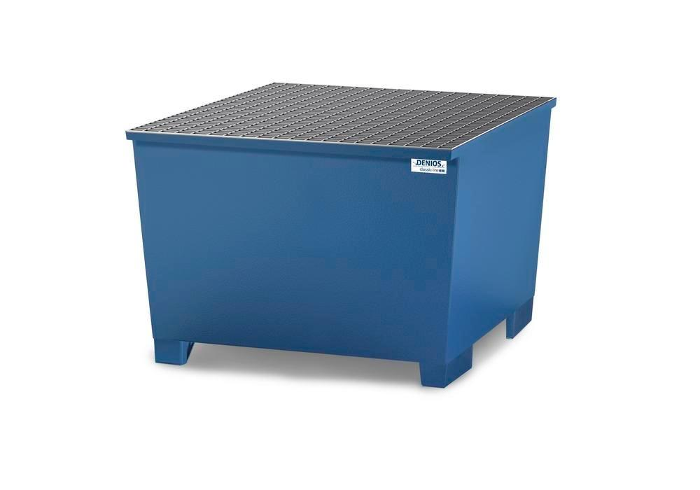 Spill pallet classic-line in steel for 1 IBC, painted, grid