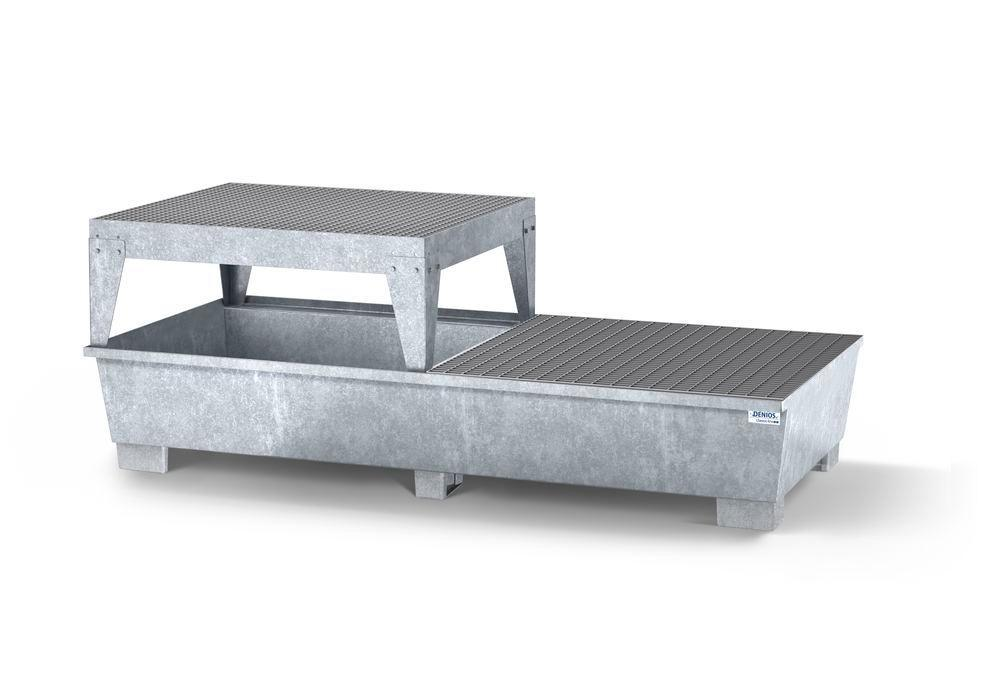 Spill pallet classic-line in steel for 2 IBCs, galv., platform and grid