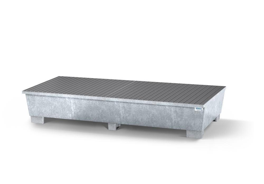 Spill pallet classic-line in steel for 2 IBCs, galvanised, 2 grids