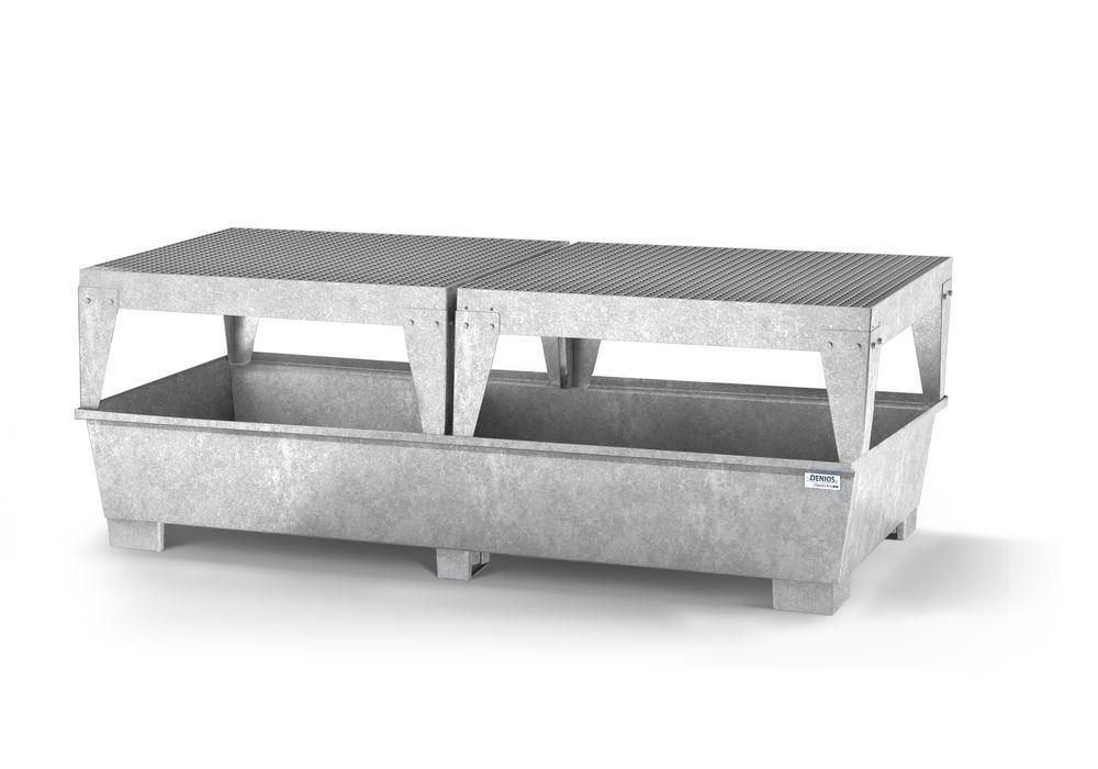 Spill pallet classic-line in steel for 2 IBCs, galvanised, with 2 dispensing platforms