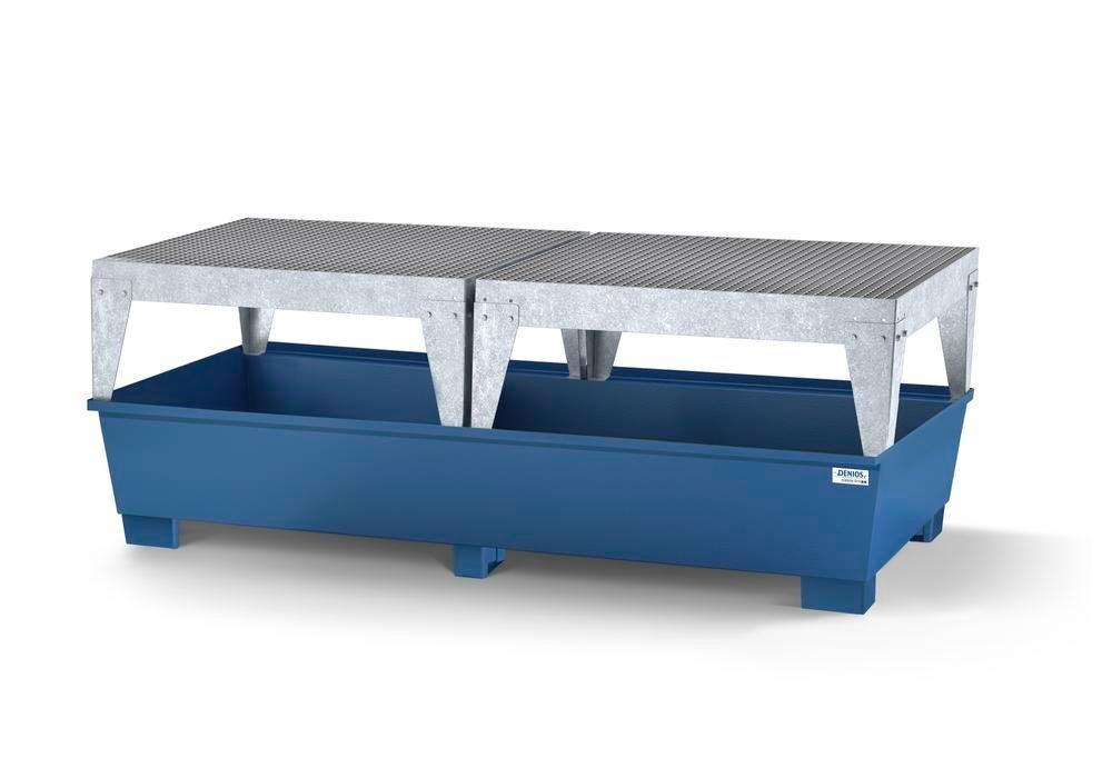 Spill pallet classic-line in steel for 2 IBCs, painted, 2 dispensing platforms