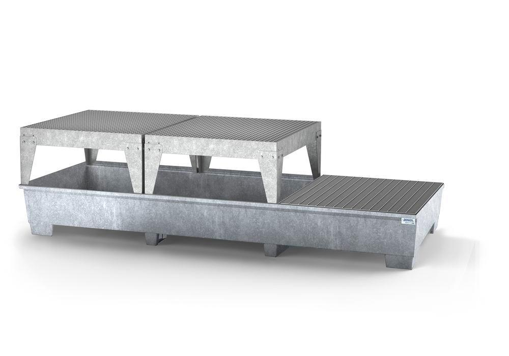 Spill pallet classic-line in steel for 3 IBCs, galvanised, 2 dispensing platforms and 1 grid