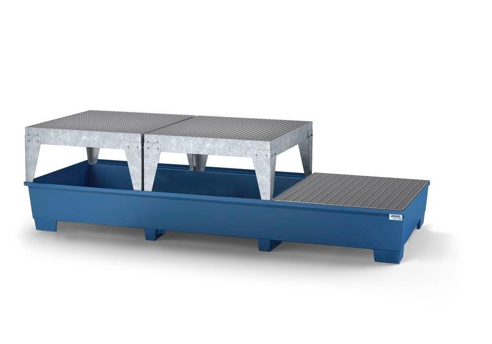Spill pallet classic-line in steel for 3 IBCs, painted, 2 dispensing platforms and 1 grid