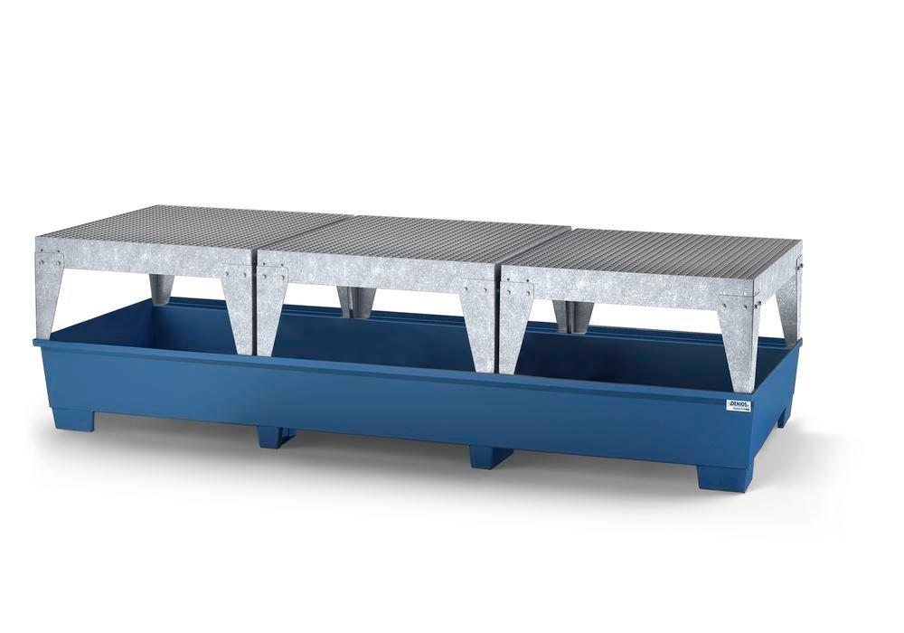 Spill pallet classic-line in steel for 3 IBCs, painted, 3 dispensing platforms