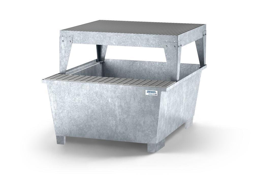 Spill pallet classic-line in steel with dispensing area for 1 IBC, galv., platform